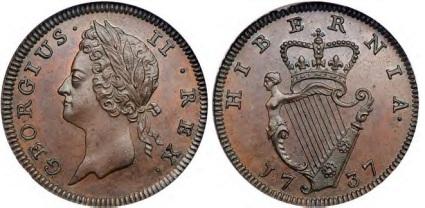 1737 George II, Type I farthing S-6608 D&F-558 George II, the superb left-facing Irish portrait, bare head with ribbon-ties behind. Plain edge.
