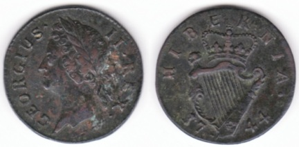 A 1744 Farthing of 10 Strings, S.6609, 4.36 g., coin orientation, plain edge.  Laureate bust left of the young George II left, legend around GEORGIUS .    II . R E X ., with the pellets at middle height.  Top ribbon to middle of X.  Rev. crowned harp of 10 strings divides date at bottom 17  44, with well spaced H I B E R N I A . around at top, with B well to left of crown. Good Very Fine with a trace of verdigris on the obverse.  Very well detailed laureate head.  1738 and 1744 are the scarcest regular issue Irish farthings