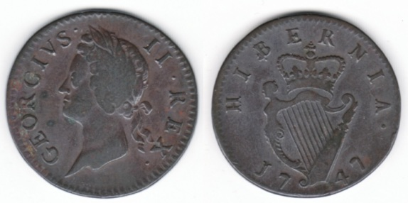 A 1747 George II, Type III copper Halfpenny of 9 Strings, S.6607, 8.52 g., coin orientation, plain edge.  Laureate bust left of the young George II left, legend around GEORGIVS .    II . R E X ., with the pellets at mixed heights.  Top ribbon to just rt. of middle of  X;  ribbon well clear of X.  Rev. crowned harp of 9 strings divides date at bottom 17  47, with H I B E R N I A . around at top.   Top of crown to midpoint between E and R.