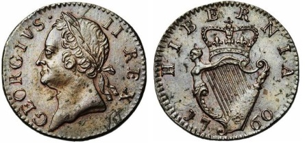 1760 George II (1727-1760), Copper farthingType IV