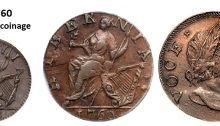 1760 Voce Populi farthing & halfpenny (featured image). These coins are now much sought after by Irish and American collectors alike - they circulated in New England immediately prior to the Declaration of Independence.