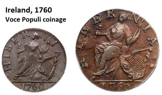 1760 Voce Populi farthing & halfpenny (reverse)