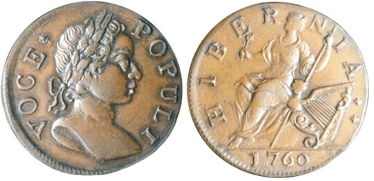 1760 Irish Voce Populi copper halfpenny. This coin also circulated in the American Colonies, therefore US collectors also consider it an Early Colonial coin.
