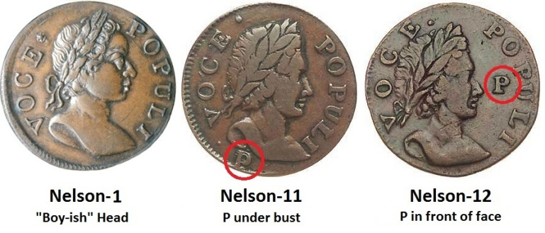 Basic varieties of the Irish 1760 Voce Populi Halfpenny - Nelson-1 (boy-ish head) + Nelson-11, P below Bust + Nelson-12, P in Front of Face