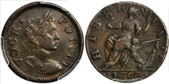 The recently discovered and unique Voce Populi halfpenny (Nelson-17) variety most closely resembles the Voce Populi variety identified as Nelson 4 and Zelinka 2-A. The established variety shares a reverse die with the new discovery, but the obverse on the new coin is from an entirely new die.