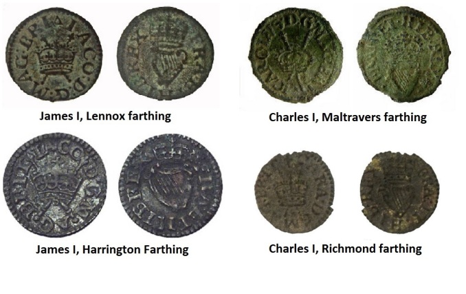 A comparison of the James I and Charles I royal farthings