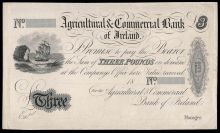 1811 Agricultural & Commercial Bank of Ireland, Three Pounds, 18-, proof on light card, no printers imprint (AG 3)