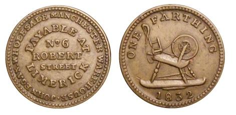 1832 John Egan, 6 Robert Street, Limerick - one penny