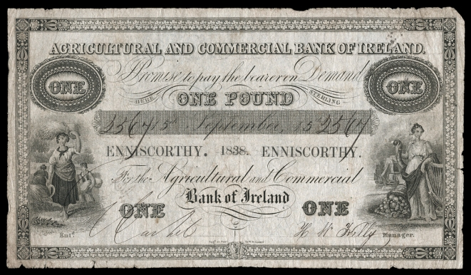 1838 Agricultural & Commercial Bank of Ireland, One Pound, 15 September 1838, no. 5567, Enniscorthy (AG 5a)