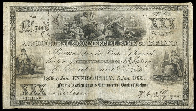 1839 30 shillings Joint-Stock Banks, Agricultural & Commercial Bank of Ireland, Thirty Shillings, 5 January 1839, Enniscorthy