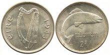 coins, numismatics, irish free state, eire, ireland, florin, two-shillings, The rare 1943 Ireland florin - approx. known examples exist.