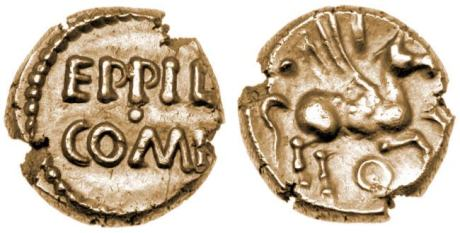 Atrebates. Eppilus, Kentish Type, 10 BC-10 AD. AV Quarter Stater