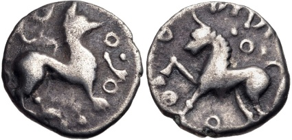 Cantii. Dubnovellaunus. c 30-10 BC. Silver Unit. Winged beast standing right, annulets around, Horse standing left