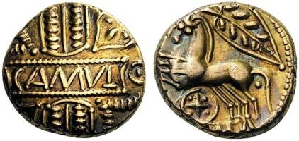 Catuvellauni & Trinovantes. Cunobelin, c. 8-41. Stater Gold, Camulodunon (Colchester). CAMVL + Two horses galloping