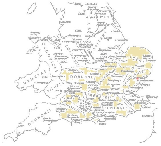 Celtic Britain - map of coin-issuing tribes