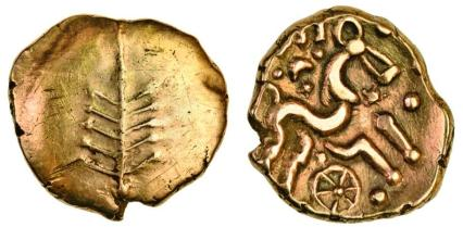 Dobunni, Catti (c.AD 1-20), gold Stater, tree symbol, triple-tailed horse right
