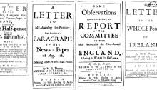 The Drapier Letters, Ireland, Irish, politics, numismatics, Woods, coinage, Colonial America, farthing, halfpenny
