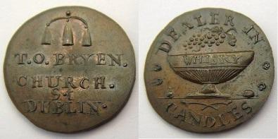 Dublin T O Bryen farthing token Plain edge D&H 388