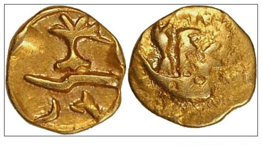 "Imported Gallo-Belgic Morini ""Geometric type"" Gold quarter stater- 1,5 gram, minted 65-50BC obv: tree, zig-zag rev: two persons in a boat VA 69-3 Scheers, Gaule Belgique V 116 CE1878"