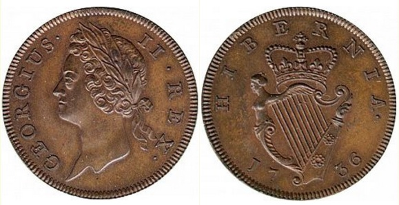 George II, Type I copper Halfpenny 1736.  Obverse : Laureate bust facing left;