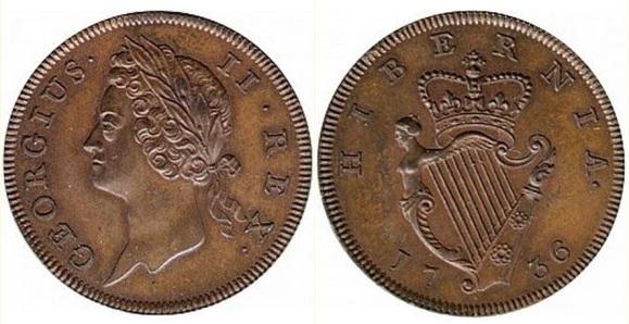 George II, Type I copper Halfpenny 1736.  Obverse : Laureate bust facing left;