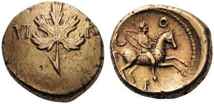 Regini & Atrebates. Verica, c. AD 10-40. Stater (Gold), vine leaf type