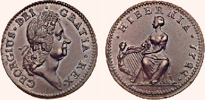 Wood's 'Hibernia' halfpenny, with the harp to the left of the seated Hibernia (Type I)