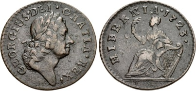 William Wood's 'Hibernia' type. Wood's mint, possibly in London or Bristol. 1723. Laureate head right / Hibernia seated left on globe, holding palm frond in right hand, resting left elbow upon harp. Martin dies 3.22/Ba.1 (EDS); D&F 525; SCBI –; SCBC 6604. VF, attractive brown patina.