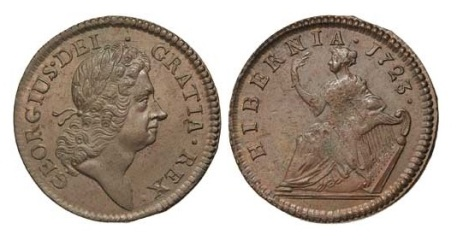 Wood's 'Hibernia' halfpenny, with the harp to the right of the seated Hibernia (Type II)