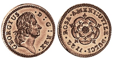 "The Rosa Americana pieces were issued in three denominations—half penny, penny, and twopence—and were intended for America. This type had a fully bloomed rose on the reverse with the words ROSA AMERICANA UTILE DULCI (""American Rose—Useful and Pleasant"")."