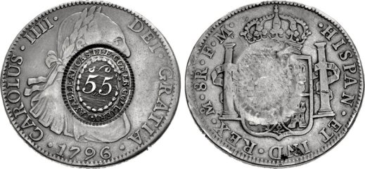 A Castlecomer token - over-struck on a Spanish dollar or 'piece of eight' reales, dated 1796. Counter-struck '5 shillings & 5 pence' for use in trading by the Castle Comer Colliery, in Co Kilkenny
