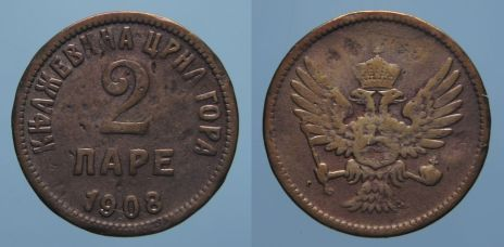 1908 Montenegro 2 pare