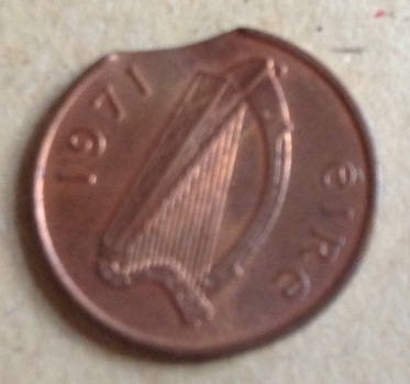 1971 Ireland ½p Chipped Planchet error