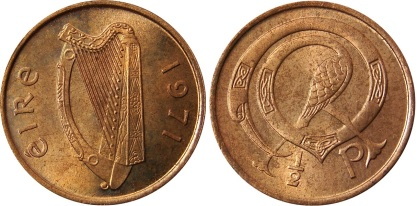 Ireland decimal halfpenny 1971-1985 - designed by Gabriel Hayes (1909–1978) - an Irish artist born in Dublin. She was a sculptor who studied in Dublin, France, and Italy.  She also designed the penny and twopence coins of this series.