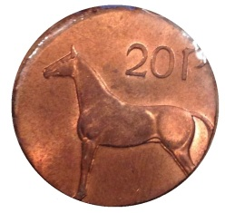 1986 Ireland 20p on 1p planchet (error)