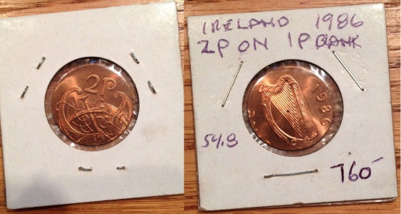 1986 Ireland 2p on 1p planchet (error)