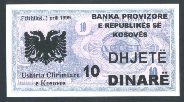 1999 Kosovo 10 dinare provisional issue (overprinted: UCK - Ushtria Clirimtare e Kosoves / Kosovo Liberation Army)