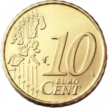 Euro 10c coin, common side Type I (2002-2006) - a 'stylised' map of Europe, showing separate states of the European Union (EU).