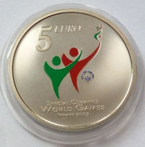 2003 €5 Special Olympics Coin ( Brilliant Uncirculated) reverse design - an image of the reverse design: enameled Special Olympics colour logo