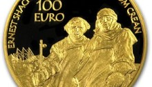 The 2008 €100 gold coin (polar explorers) - the largest (28mm diameter) and heaviest (half ounce) Irish gold coin to date.