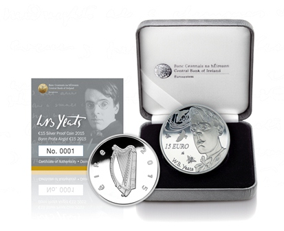 2015 €15 Silver Proof coin, 150th anniversary of the birth of William Butler Yeats, the Irish poet and Nobel Laureate