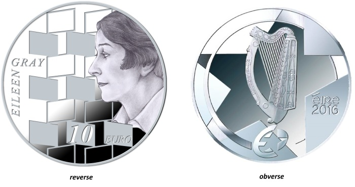 2016 Ireland €10 silver proof coin (Eileen Gray)