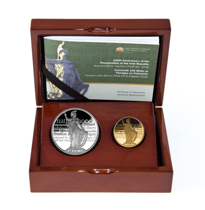 2016 Ireland €15 silver + €50 gold proof coin set (boxed)