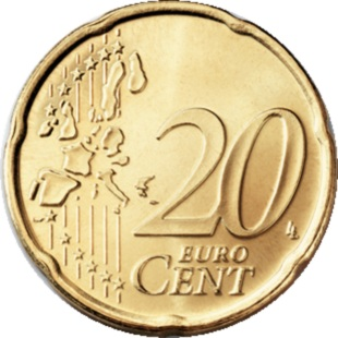 Euro 20c coin, common side Type I (2002-2006) – a 'stylised' map of Europe, showing separate states of the European Union (EU).
