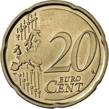 20c coin, Type II reverse (2007 to date), This map showed Europe, not just the EU, as one continuous landmass – Cyprus was moved west as the map cut off after the Bosporus