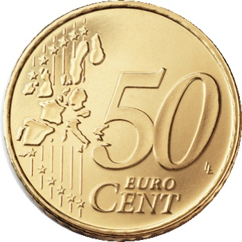 Euro 50c coin, common reverse side Type I (2002-2006) – a 'stylised' map of Europe, showing separate states of the European Union (EU).