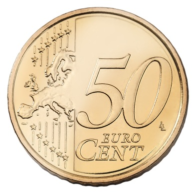 Euro 50c coin, type II reverse (2007 to date). This map showed Europe, not just the EU, as one continuous landmass – Cyprus was moved west as the map cut off after the Bosporus