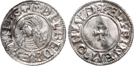 Aethelred II, Type 1 - First Small Cross penny, Moneyer,  Elfwine of London (+ELFPINEM-ONLVD). North 764, Seaby 1143, Hildebrand 1284 ff var