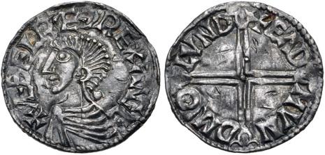 Aethelred II, Type 5 - Long Cross penny, Moneyer, Eadmund of London