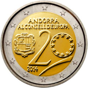 Andorra commemorative €2 coin 2015 - 20th anniversary since Andorra joined the Council of Europe